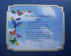 PERSONALIZED POEM GRANDDAUGHTER BIRTHDAY CHRISTMAS GIFT