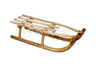 Old vintage wooden sled on white Royalty Free Stock Photo