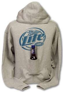 Miller Lite Beer Pouch Holder Heather Gray Hoodie   TeesForAll