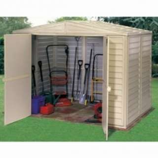 Apex Roofed 8 x 6 PVC Clad Garden Shed with Foundation Kit   DIY Tools