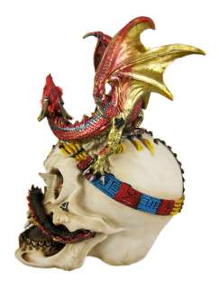 Red Gold Evil Dragon On Vampire Skull Money Bank