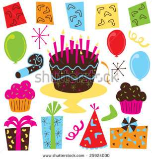 stock photo  Retro Birthday Party Supplies, including balloons, party