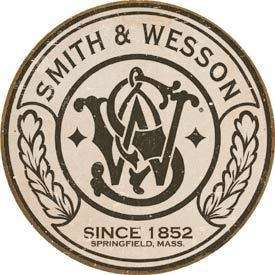 SMITH & WESSON Pistol Round Logo Tin Sign Metal Poster
