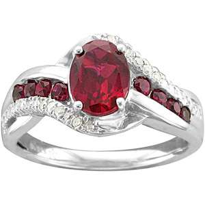 99 Carat T.G.W. Oval Shaped Ruby and Diamond Accent Fashion Ring in