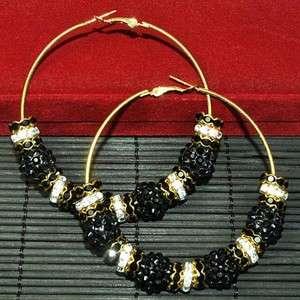 NEW Bling Hoops Rhinestone Basketball Wives Earrings+Gift Box 0207