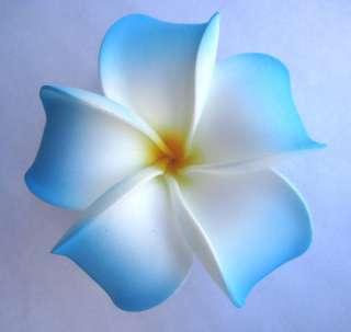Bridal Wedding Party Plumeria Hair Clip~White Blue Yellow