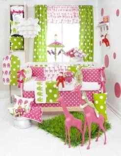 STRETCH 4pc Glenna Jean Crib Baby Nursery Bedding GIRL Pink Green NEW