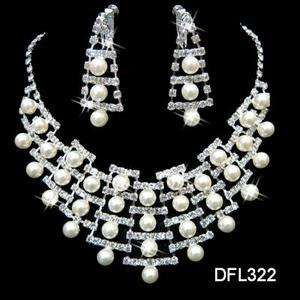 Wedding Bridal Pearl crystal necklace earring set TL322