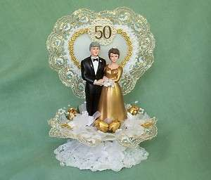 50th Wedding Anniversary Cake Topper w/Bride & Groom & Gold Lace Heart