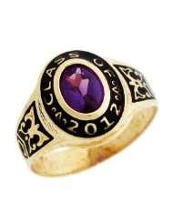 10k Gold June Birthstone CZ 2012 Class Graduation Ring