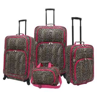 Traveler Leopard Print Fashion Spinner Luggage Set   4 Pc product