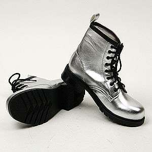 Womens Silver Military Shiny Combat Boots US size 6~8.5