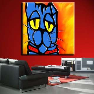 HUGE BLUE CAT ABSTRACT ORIGINAL MODERN PAINTING CONTEMPORARY ART by