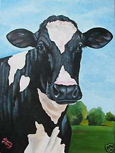 Holstein cow farm primitive dairy fine art painting