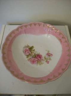 Vintage Pink White Three Crown China Germany Bowl