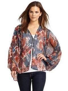 Love Sam   Printed Silk Blouse