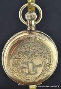 1886 Elgin 6s Pocket Watch Brooklyn Eagle 8K Solid Gold Hunters Case