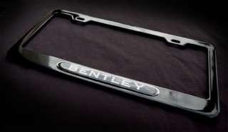 Black Metal license plate frame w. Black & Chrome metal emblem