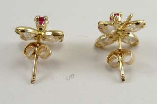 14K Gold Earrings Butterfly Motif Pink Topaz CZ Mexico