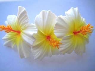 Hawaiian Bridal Wedding Party Foam Flower Hair Clip Three White