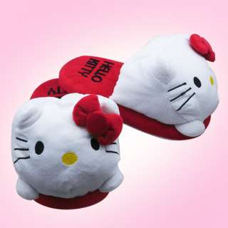 Cute  One Pair Hello Kitty Soft Plush Slipper