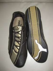 NEW PUMA PANIGALE 50 MENS BROWN GOLD LEATHER SHOE SNEAKER TENNIS SIZE