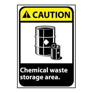 Caution Sign 14x10 Vinyl   Chemical Waste Storage Area:
