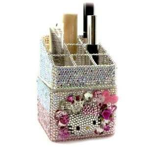 com 3D Custom Swarovski Hello Kitty Crystal Bling Cosmetic Organizer