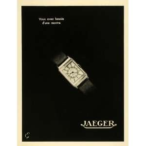 1936 French Lithograph Ad Jaeger LeCoultre Watch Swiss