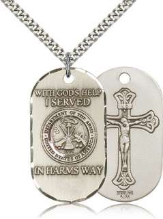 Sterling Silver US Army Crucifix Dog Tag Medal Necklace
