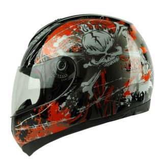 Skull Full Face DOT APPORVED Motorcycle Street Bike Race Helmet
