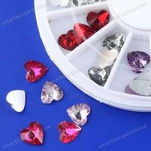 3D Acrylic Rhinestone Heart Glitter Stickers Fit Nails Art Decoration