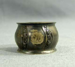 ART NOUVEAU WMF SILVER & GOLD PLATED NAPKIN RING HOLDER