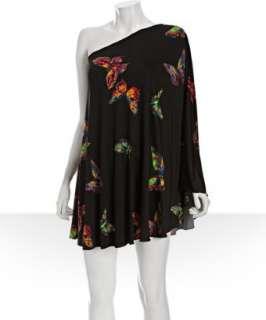 JB by Julie Brown black butterfly jersey Evan one shoulder dress