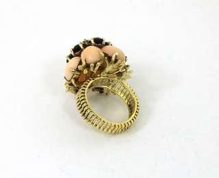 GORGEOUS VINTAGE 14K GOLD OMC DIAMOND GEMS FLOWER RING