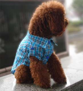 FORDOGS Pet Dog Clothes Check Blue Shirt Puppy Costume Apparel
