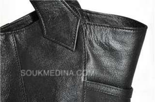 MOROCCAN BLACK REAL LEATHER HOBO BAG PURSE TOTE HANDBAG