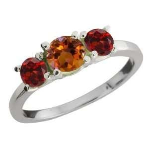 Round Orange Mystic Topaz and Red Garnet Sterling Silver Ring Jewelry