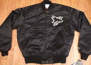 VTG SAN JOSE SHARKS SATIN JACKET by STARTER sz M snapback hat ducks