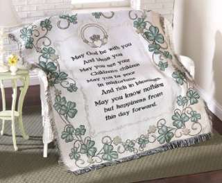 UNIQUE DECORATIVE IRISH BLESSING WOVEN TAPESTRY THROW BLANKET NEW