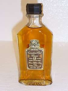 CANADIAN CLUB CLASSIC WHISKY AGED 12 YEARS 1972 VINTAGE RARE HALF PINT