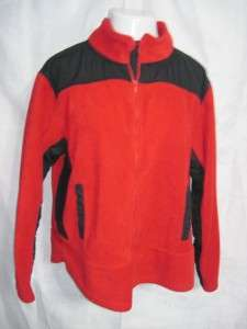 Womens Plus 2X Red Black ZOEY BETH Full Zippered Polyester Fleece
